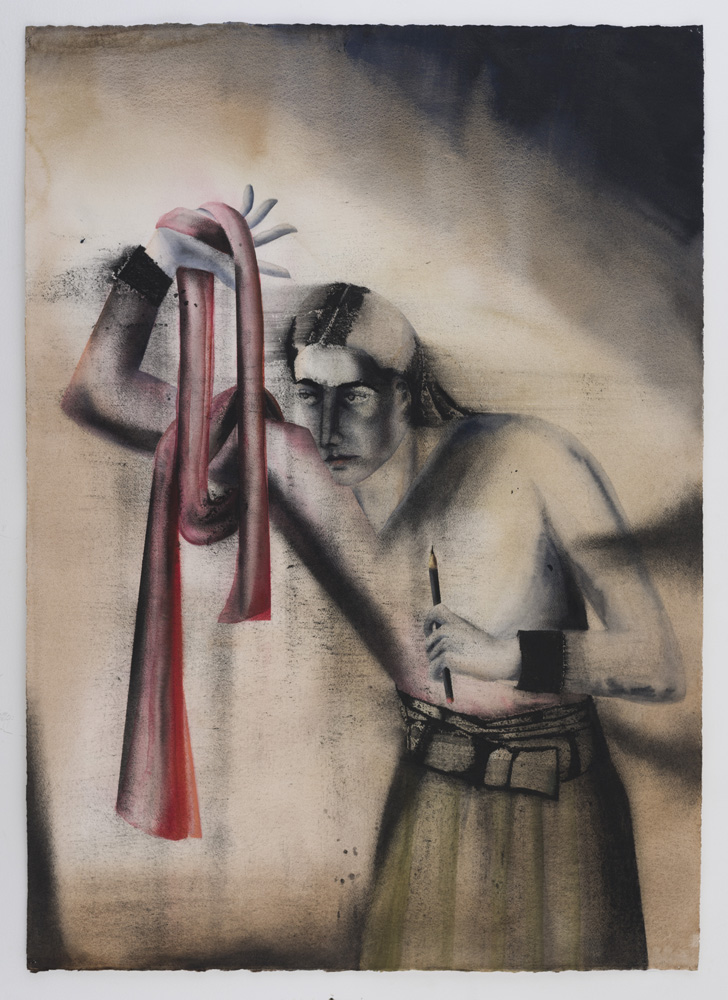 "Red Scarf | Watercolour and charcoal on paper | 42"" x 30"" 