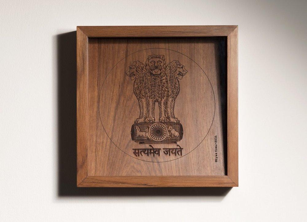 "Satyamev Jayate | Wood | 7.5"" x 7.5 x 2"" | 2016"