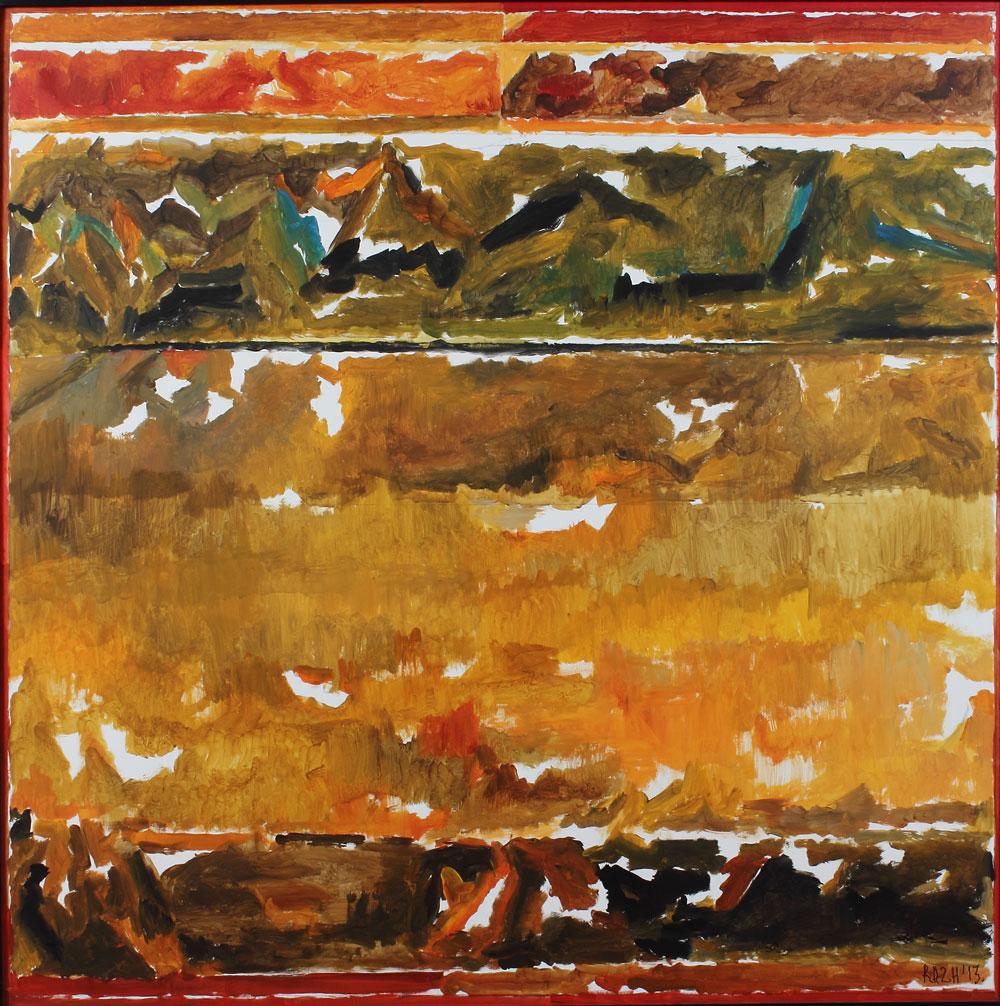 "S.H. Raza | Dharti  | Acrylic on canvas | 47.5"" x 47.5"" | 2013"