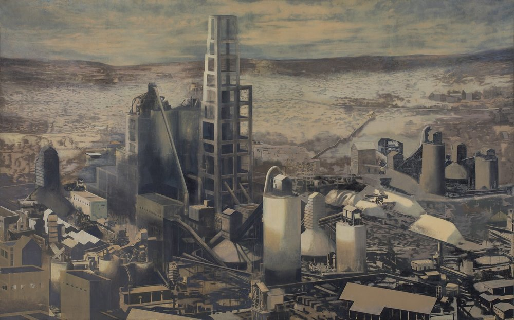 "Jaypee Cement Factory | Mixed media, oil on canvas | 66.5"" x 118.5"" 