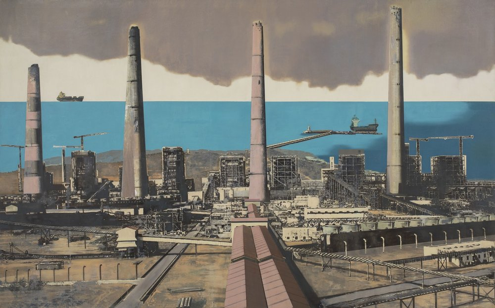 "Adani Thermal Power Plant | Mixed media, oil on canvas | 66.5"" x 108"" 