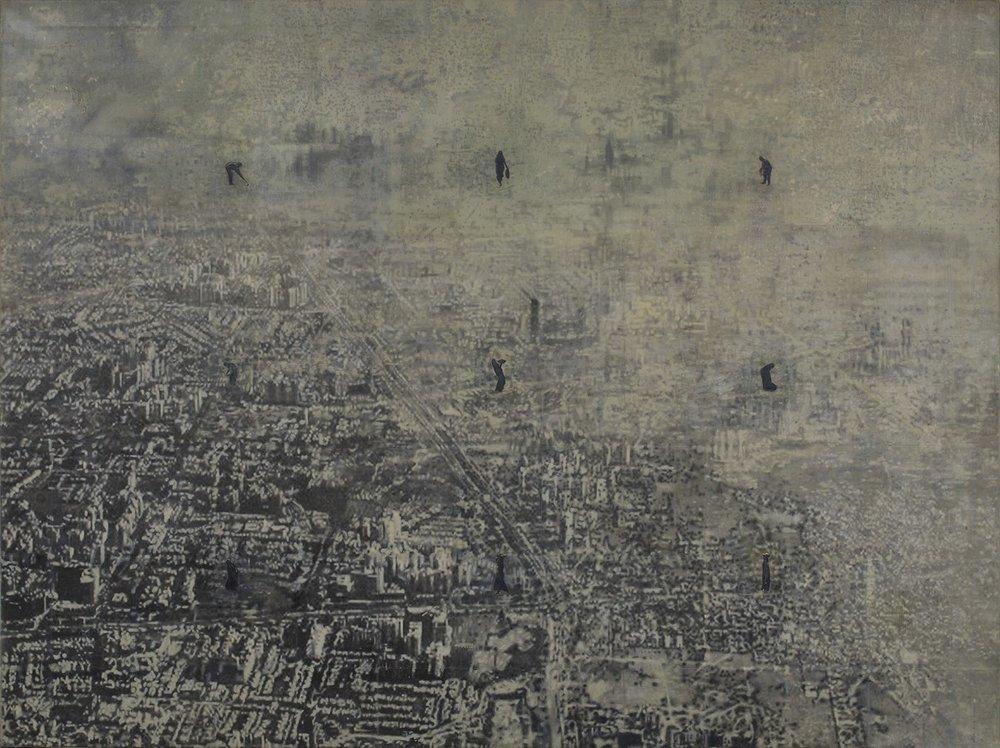 "Future City | Mixed media, oil on canvas | 72"" x 96"" | 2017 – 2018"