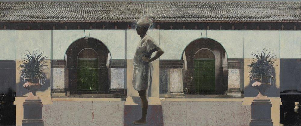 "Jambughoda Man | Mixed media, oil on canvas | 30"" x 72"" | 2017 - 2018"