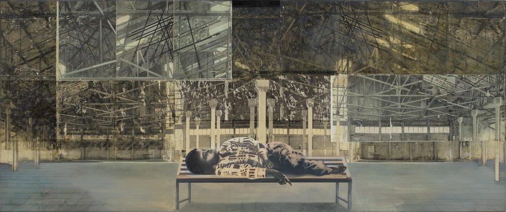 "Interior (Navi Yard, Vashi) | Mixed media, oil on canvas | 30"" x 72"" | 2017 - 2018"