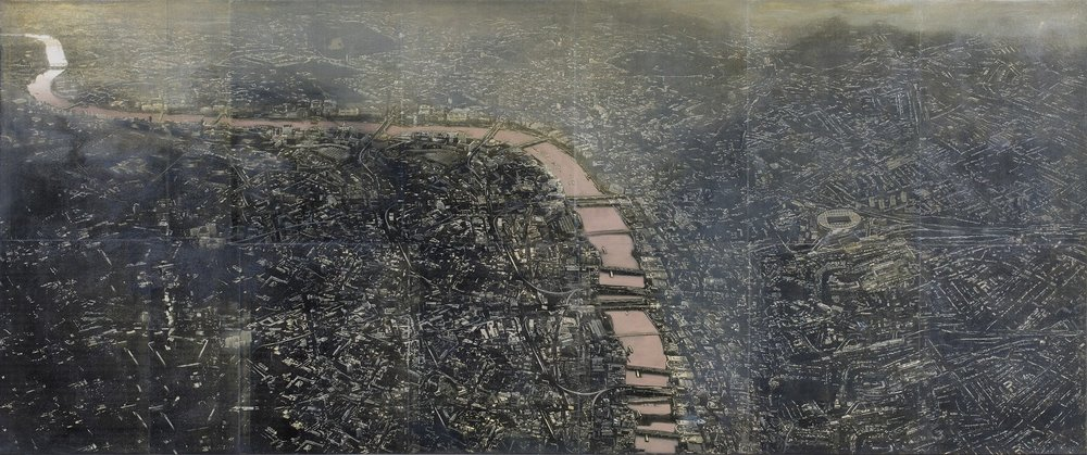 "City On A River | Mixed media, oil on canvas | 30"" x 72"" 