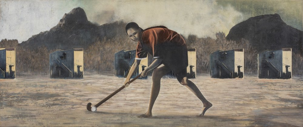 "The Hockey Player | Mixed media, oil on canvas | 30"" x 72"" 