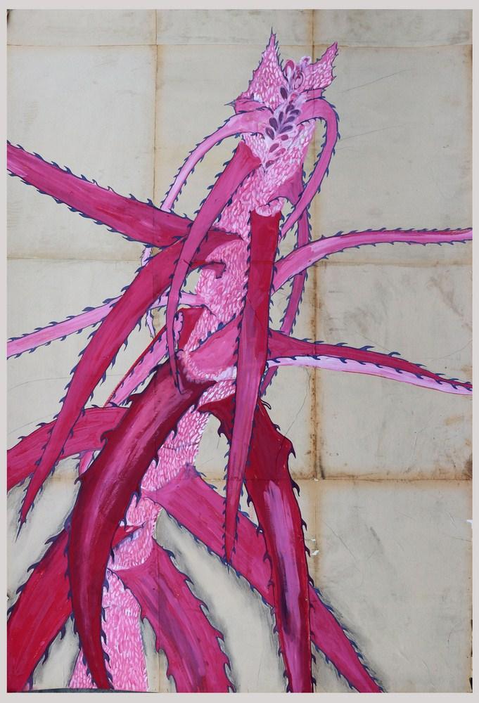 "Shailesh BR | Garagasa (Hand Saw) | Ink, acrylic, watercolour on old paper | 48"" x 36"" | 2018"