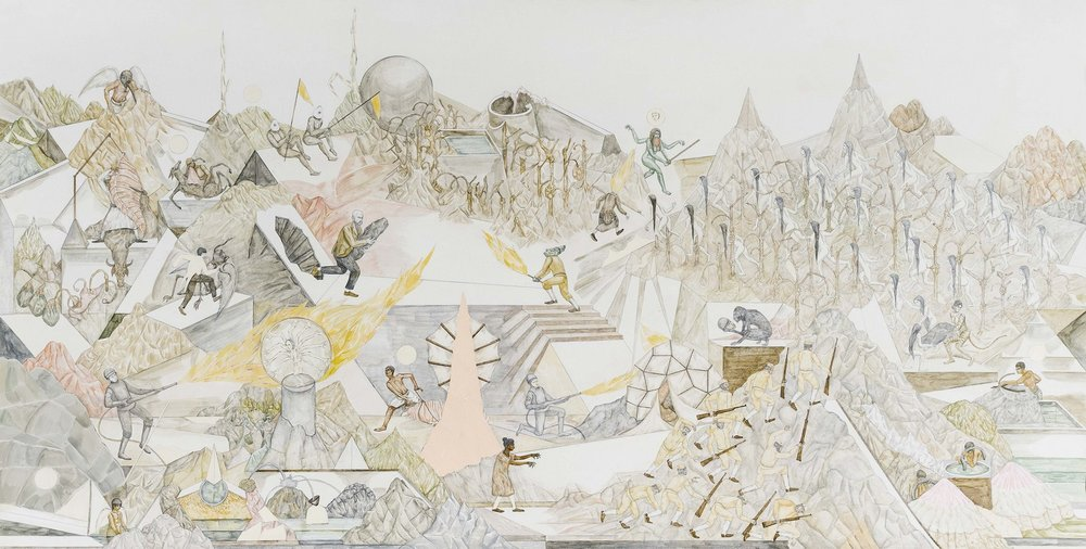 "Shrimanti Saha | The Search | Water color, pencil colour, graphite, casein, collage on paper  | 34"" x 66""  | 2017-2018"