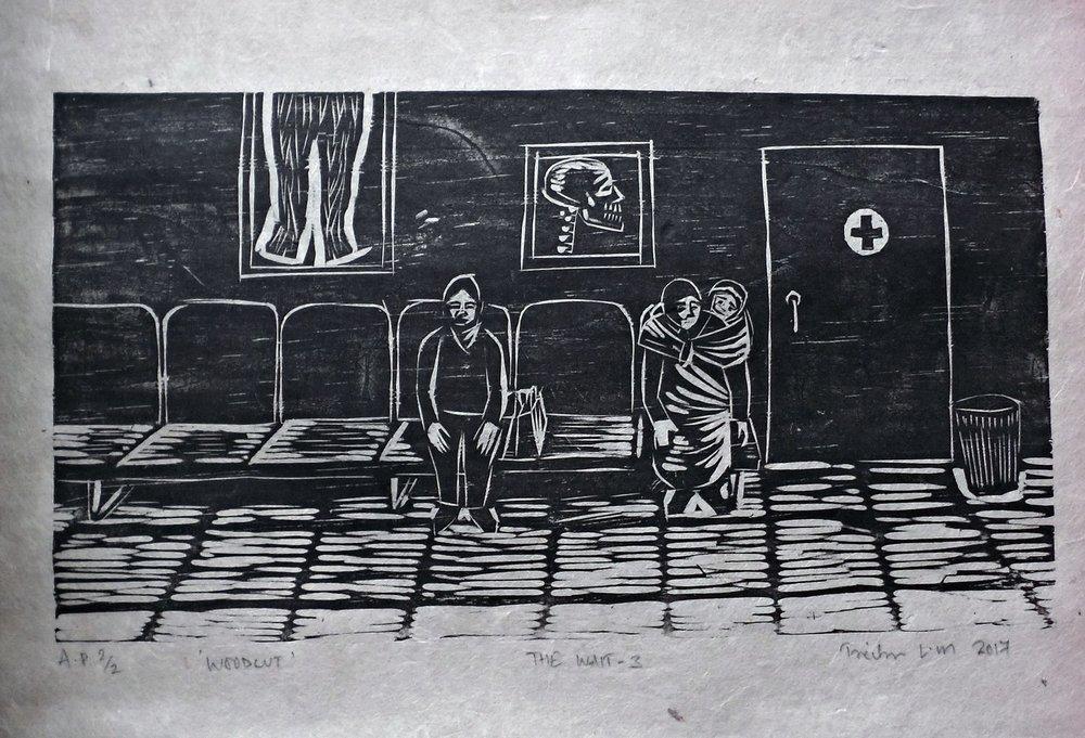 "Treibor Mawlong | The Wait – III | Woodcut print | 4.75"" x 8.25"" | 2017"