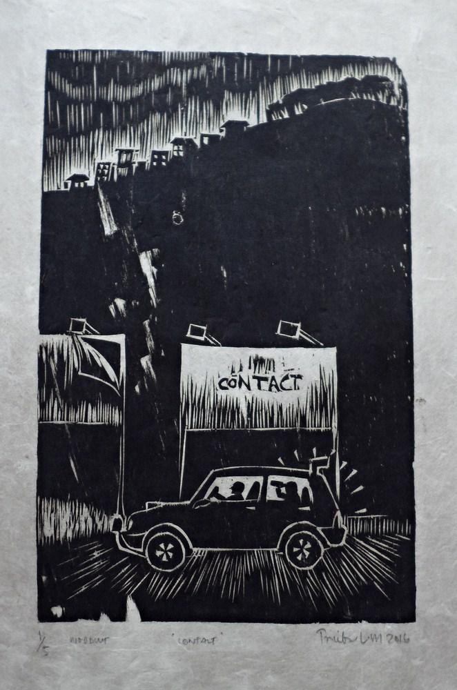 "Treibor Mawlong | Contact | Woodcut print | 9"" x 5.75"" | 2017"