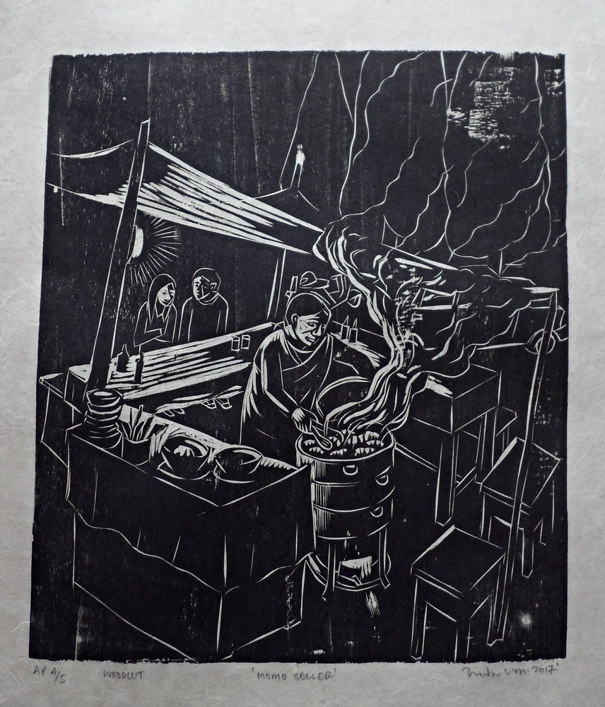 "Treibor Mawlong | Momo Seller | Woodcut print | 9.25"" x 7.5"" | 2017"