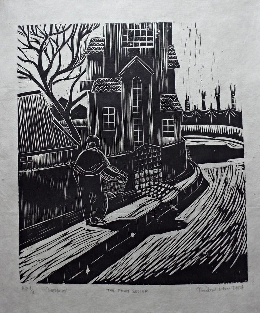"Treibor Mawlong | The Fruit Seller | Woodcut print | 10"" x 9.75"" | 2017"
