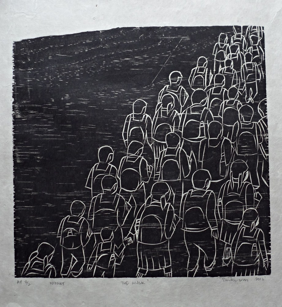 "Treibor Mawlong | The Walk | Woodcut print | 10"" x 9.75"" | 2016"