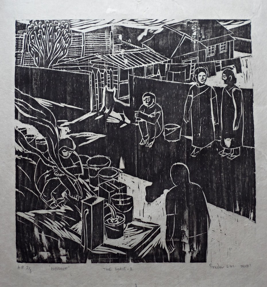 "Treibor Mawlong | The Wait – II | Woodcut print | 10"" x 9.75"" | 2017"