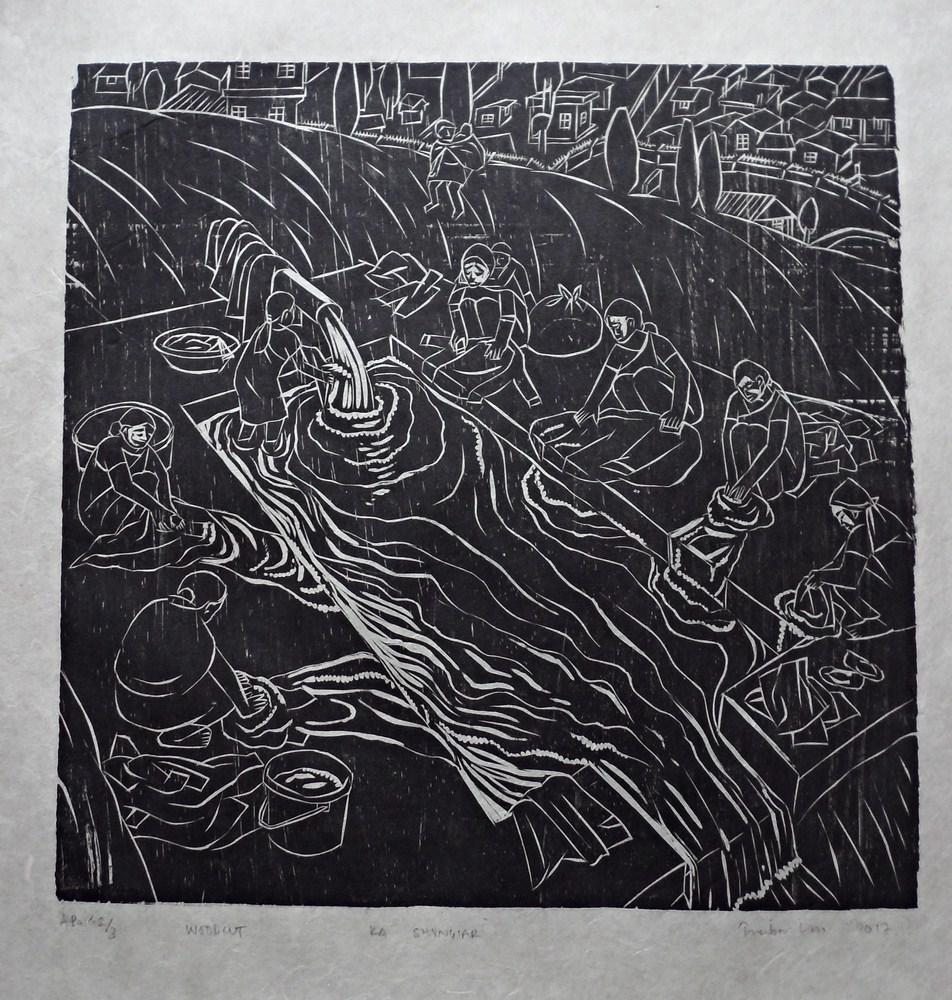 "Treibor Mawlong | KA SHYNGIAR | Woodcut print | 10"" x 9.75"" | 2017"