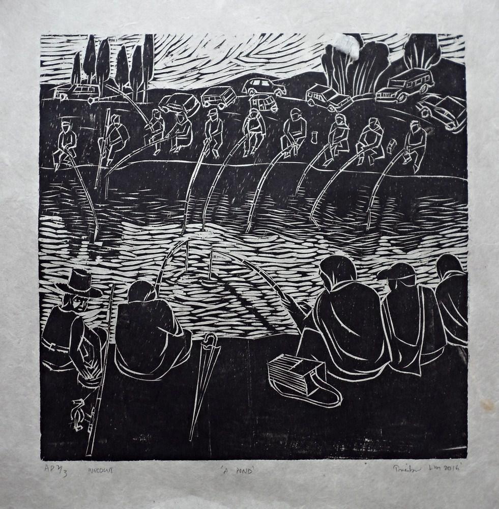 "Treibor Mawlong | A Pond | Woodcut print | 10"" x 9.75"" | 2016"