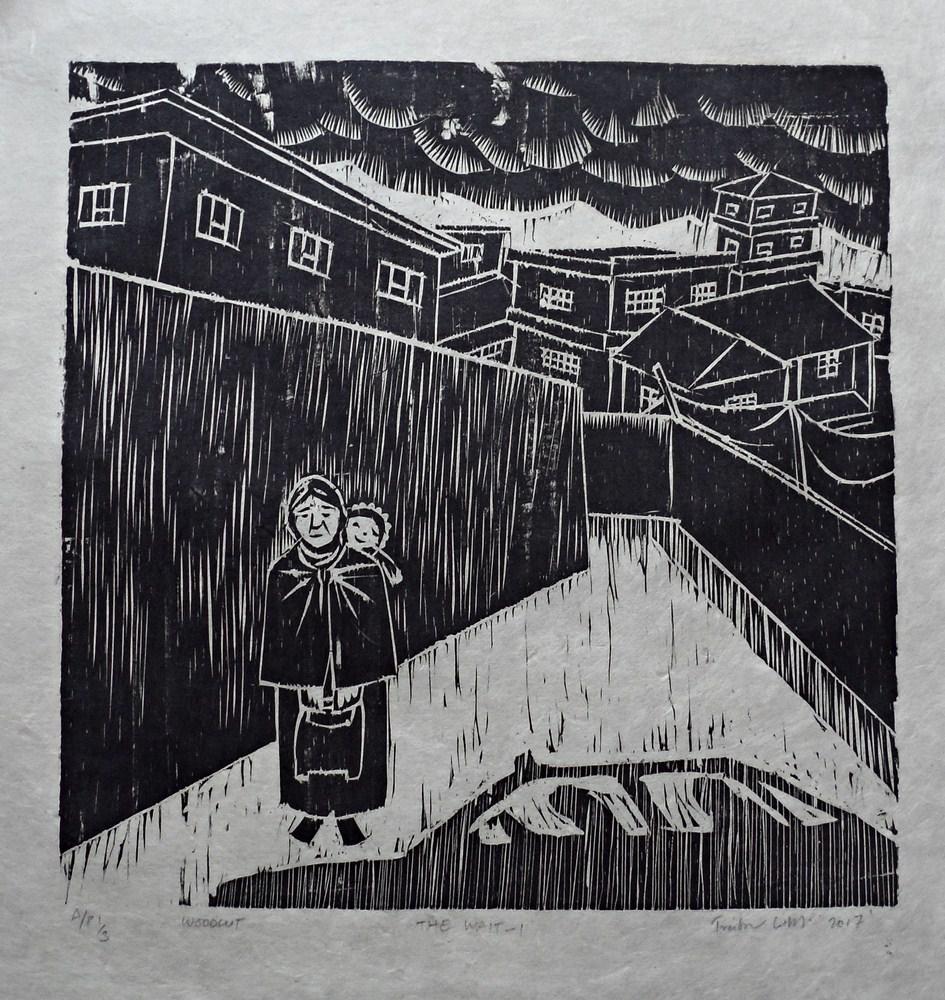 "Treibor Mawlong | The Wait – I | Woodcut print | 10"" x 9.75"" | 2017"