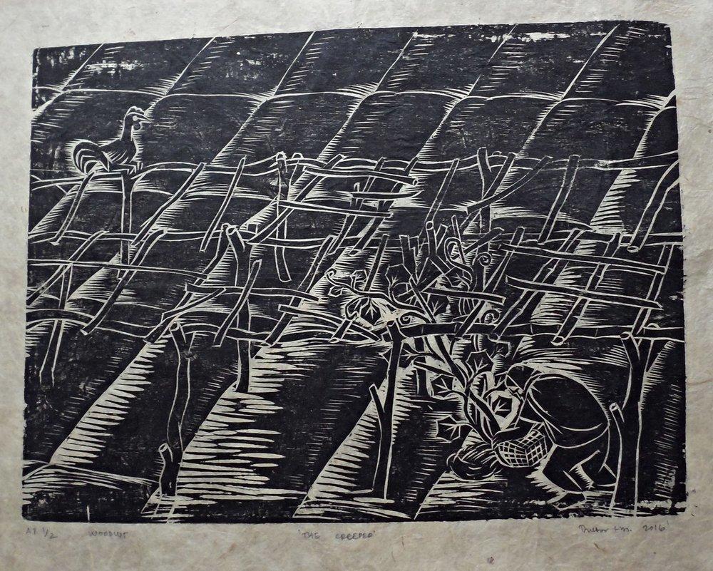 "Treibor Mawlong | The Creeper | Woodcut print | 10"" x 9.75"" | 2016"