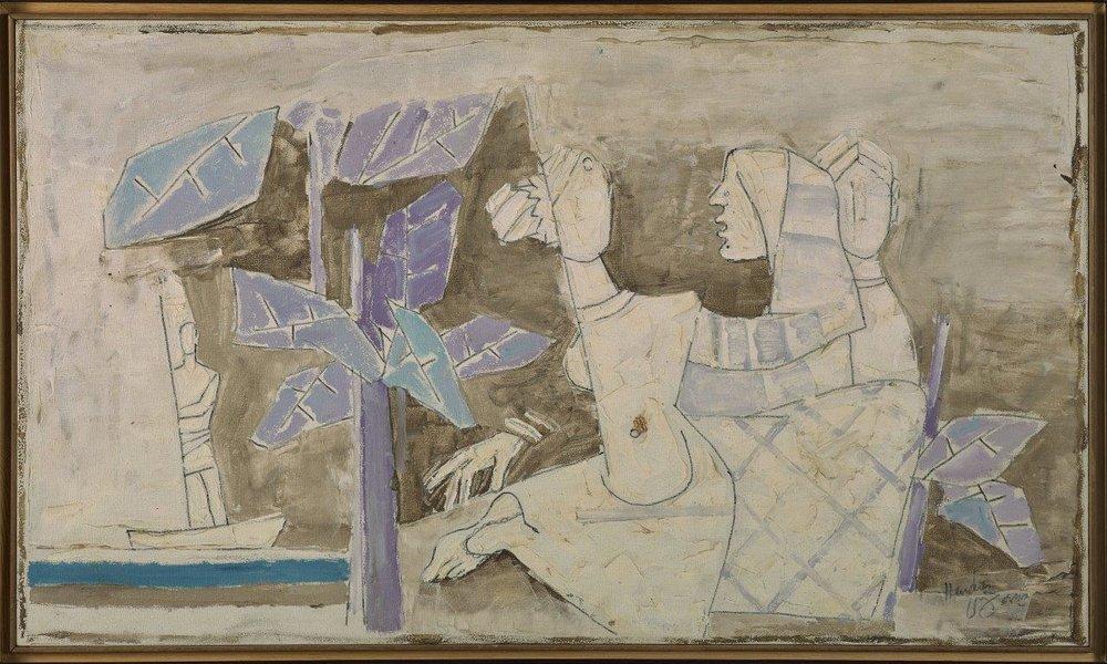 "M.F. Husain | Untitled  | Acrylic on canvas  | 26"" x 45""  | 1970"