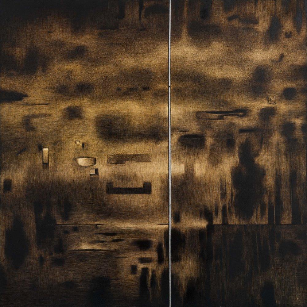 "Rameshwar Broota | Untitled III  | Oil on canvas,scraped with blade  | 58.5"" x 58.5"" | 2016"