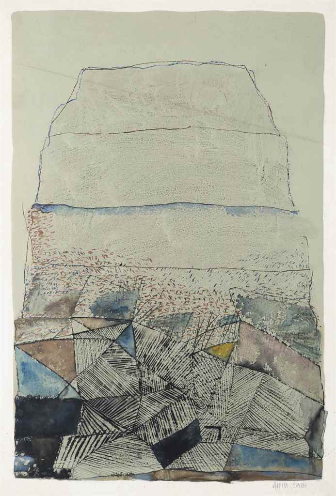 "Arpita Singh | Untitled  | Watercolour on paper  | 22"" x 15"" | 1970"