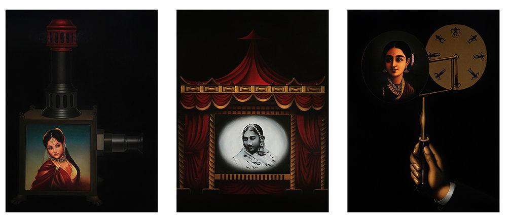 """Archaeology of cinema - 3   Oil On canvas   48"""" x 36"""" (Each)   2018"""