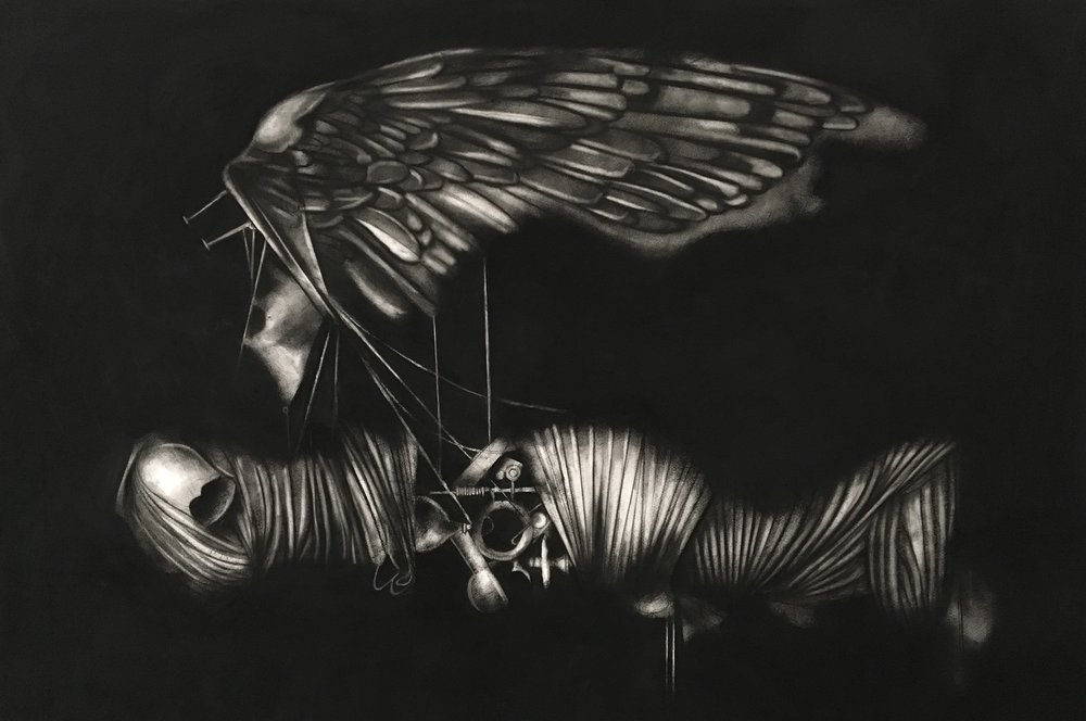 """Archaeology of Cinema   Charcoal on paper   40"""" x 60""""   2018"""
