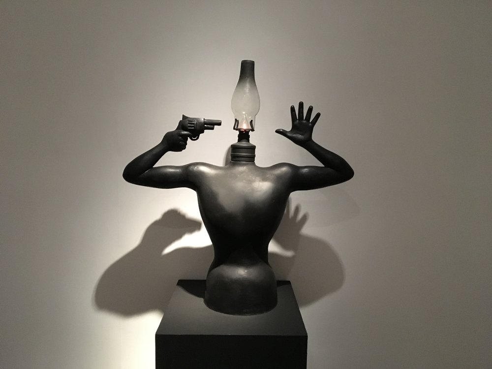 "Atmopadesasatakam - I   Fiberglas,metal and glass   33"" x 32"" x 8   2018"