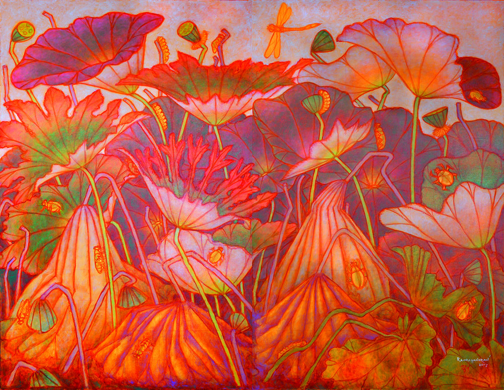 """Lotus pond in decay   Oil on canvas   78"""" x 96""""   2017"""