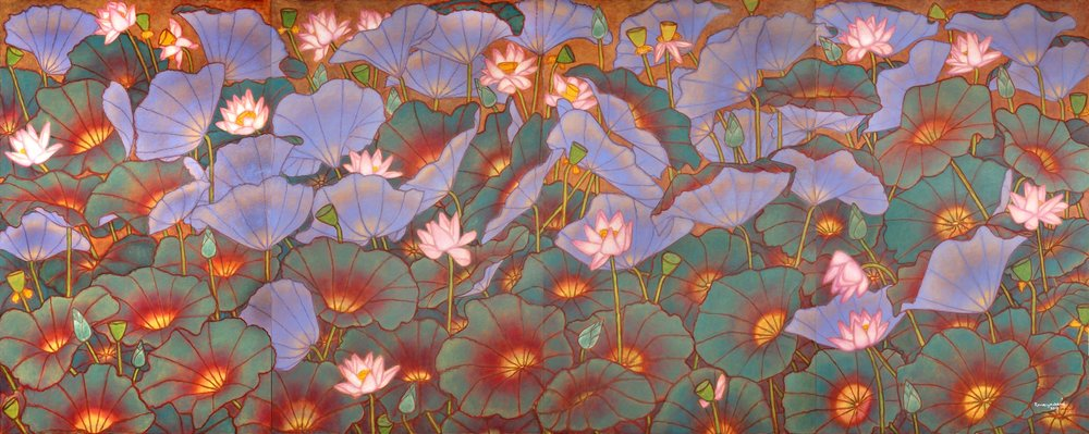 """Lotus pond in full bloom   Oil on canvas   78"""" x 192""""   2018"""