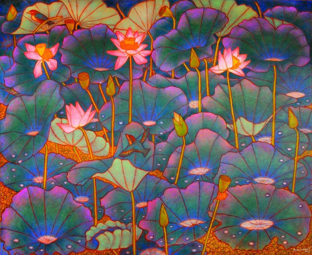"""Rain drops on lotus leaves   Oil on canvas   78"""" x 96""""   2017"""