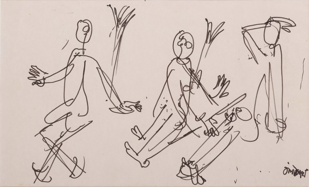 "Three Figures | Felt Pen on paper | 11"" x 7"""