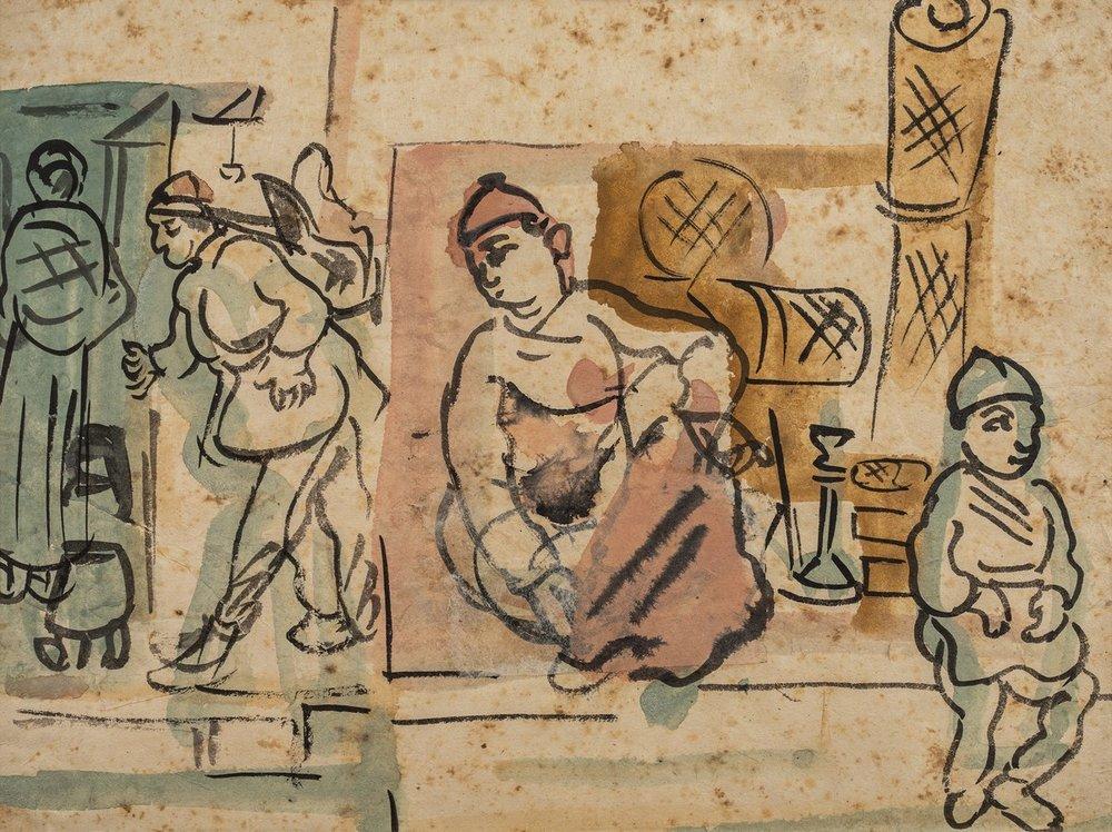 "Patna – Subject Nepal | Tempera on paper | 11"" x 15"" | 1956/57"