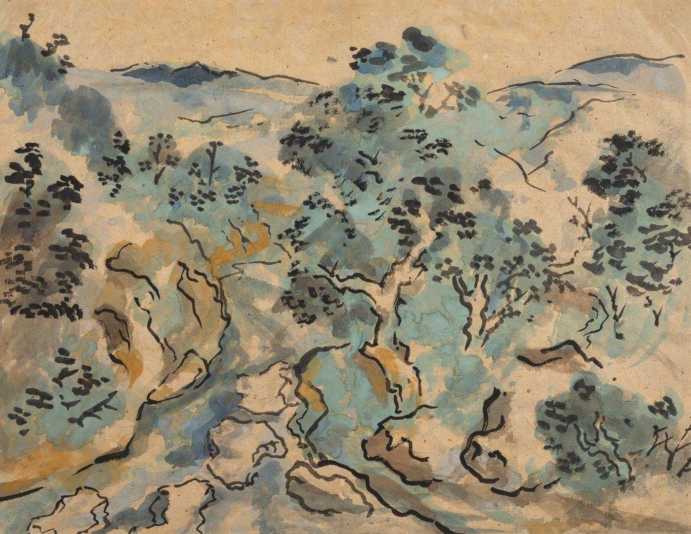 "Patna Rajgir Landscape | Tempera on paper | 12.25"" x 16"" | 1957"