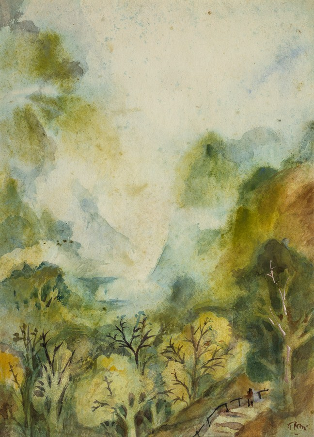 "Mussoorie Landscape (Rainy Season) | Watercolour on paper | 10.5"" x 14.5"" | 1952-53"