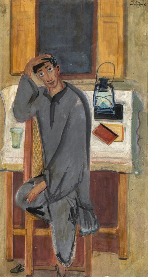 "Man with Lantern (Self Portrait) | Tempera on paper | 19.5"" x 10.5"" 