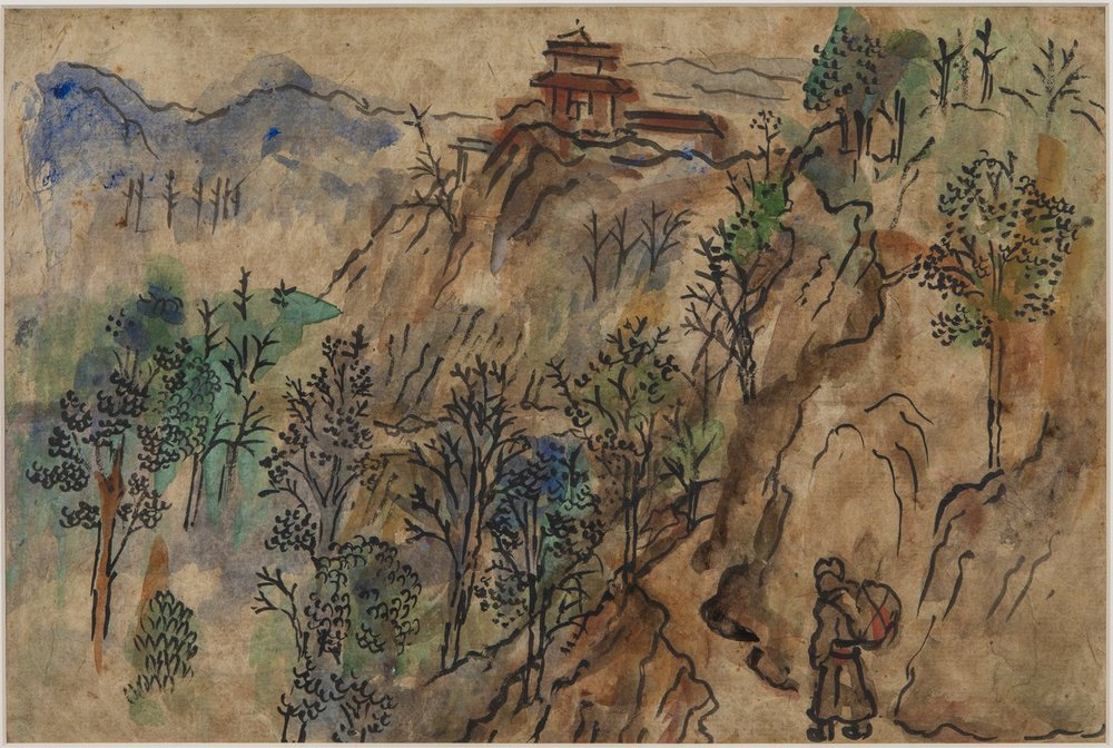 "Nepal - Landscape with Coolie | Watercolour and ink on paper | 19"" x 12"" 