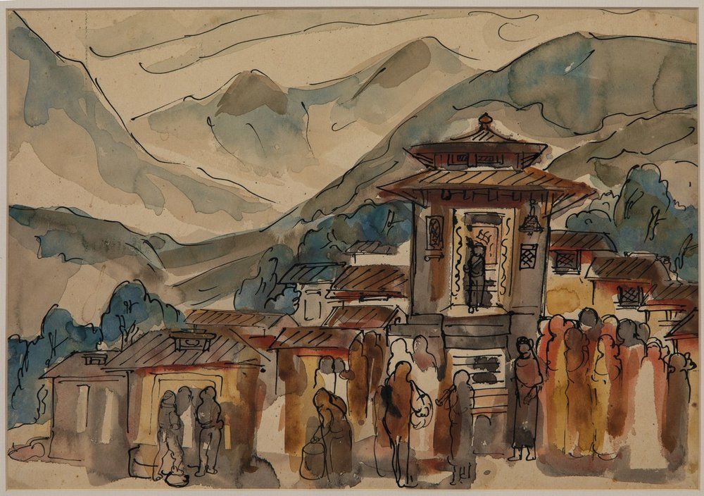 "Nepal – Done in Mussoorie | Watercolour with pen and ink on paper | 10"" x 6.5"" 