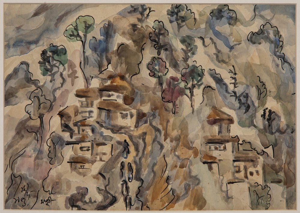 "Mussoorie | Watercolour on paper with pen and ink on paper | 8"" x 11.25"" 
