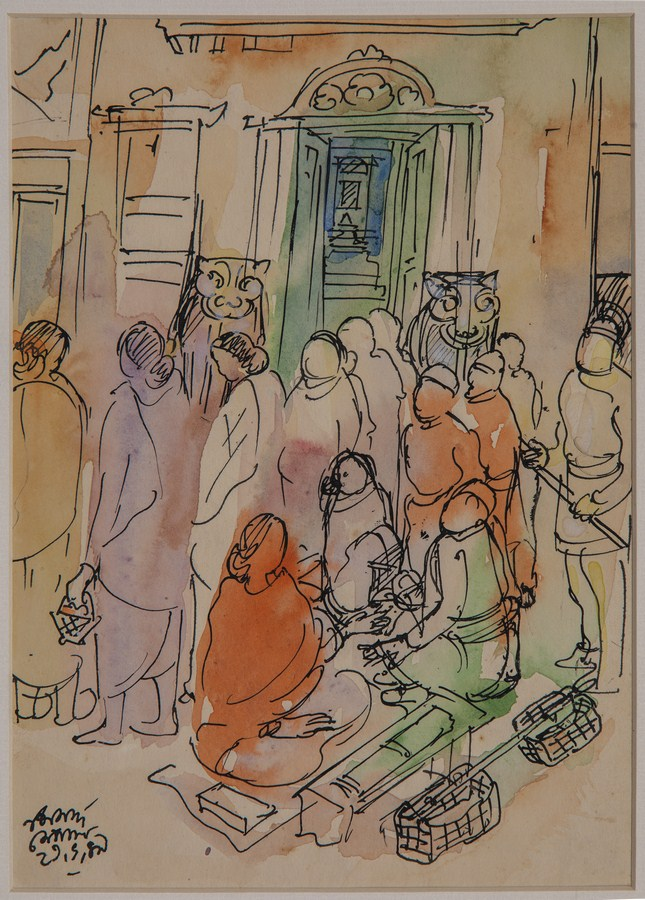 "Nepal Temple Door | Watercolour with pen and ink on paper | 9.5"" x 13.5"" 