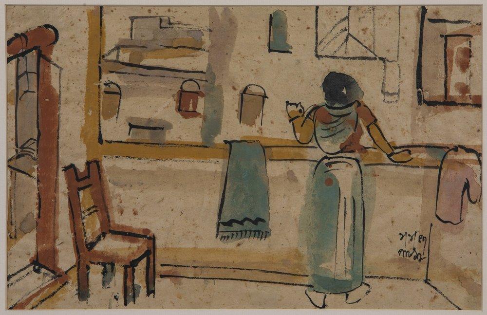 "Patna|  Tempera on paper | 10"" x 15"" | 1-1-1957"