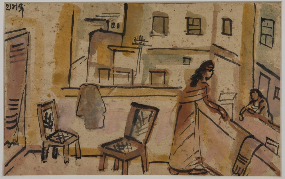 "Patna|  Tempera on paper | 9.5"" x 14.5"" | 2-1-1957"