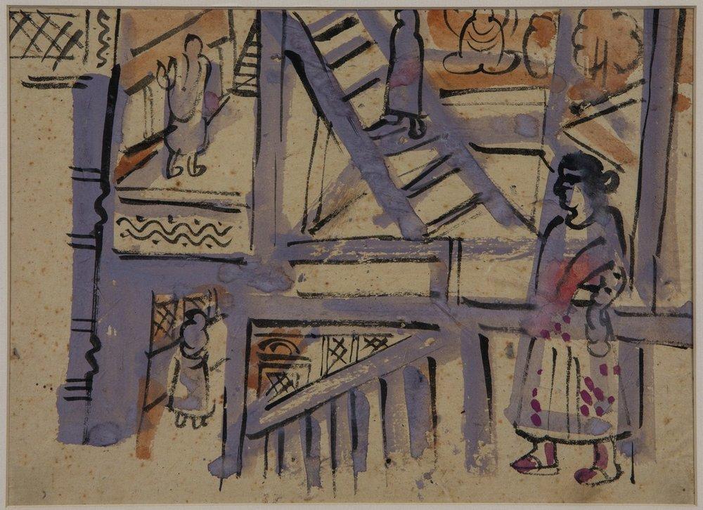 "Patna Subject Nepal | Tempera on paper | 9"" x 12"" | 1957"