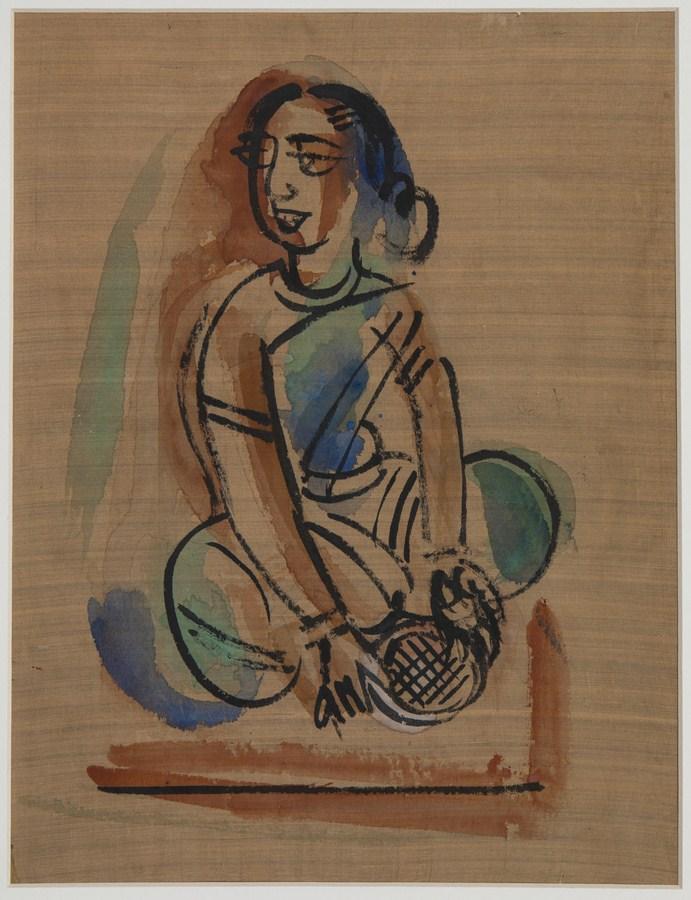 "Shantiniketan | Tempera on silk | 13"" x 10"" | 1946/47"