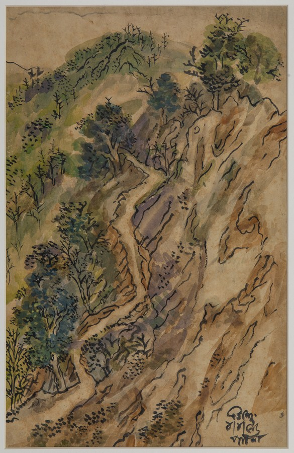 "Mussorie Landscape Done in Patna | Watercolour, tempera on paper | 18"" x 12"" | 1956"