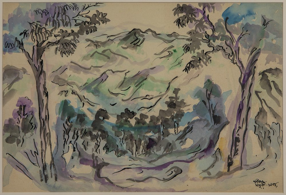 "Mussoorie – Valley Between Two Trees | Watercolour on paper | 13.5"" x 20"" 