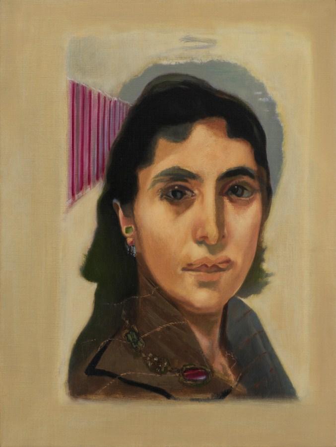 "Atul Dodiya | Untitled - VI (Egyptian Girlfriend) | Oil on canvas | 24"" x 18"" | 2016"