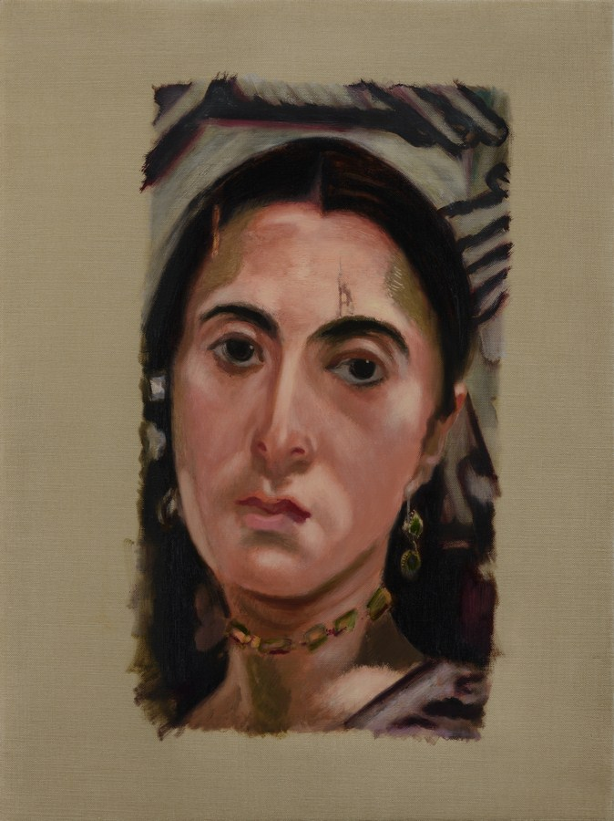 "Atul Dodiya | Untitled - VIII (Egyptian Girlfriend) | Oil on canvas | 24"" x 18"" | 2016"