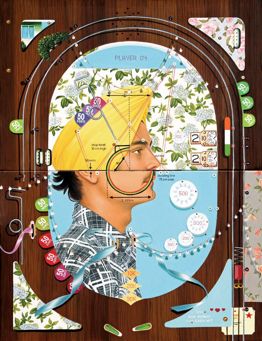 "Thukral & Tagra | Pinball 04 (Windows of Opportunity) | Oil on canvas | 36"" x 28"" | 2013"