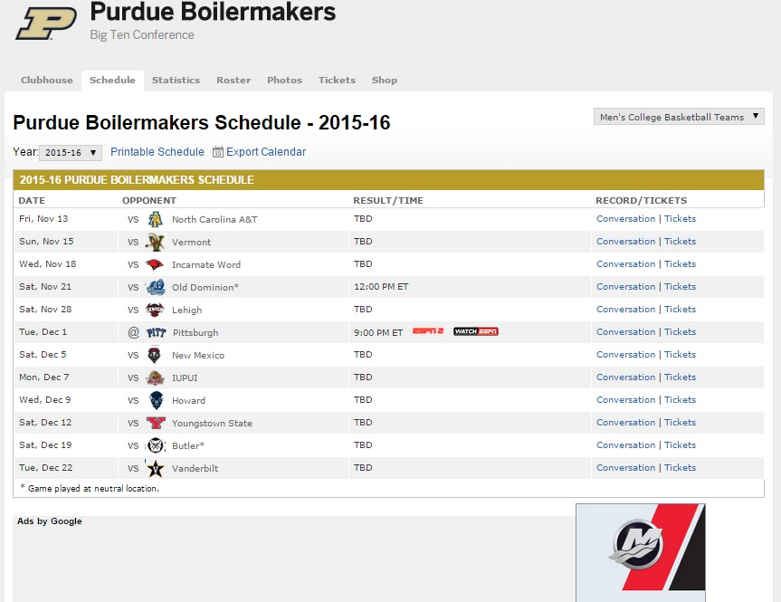 Purdue ESPN schedule as of Aug 29